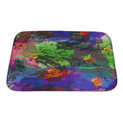 Art Touch Abstract Acrylic and Watercolor Painted Paper Bath Rug Size: Small