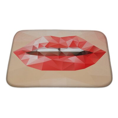 Human Touch Beautiful Woman Triangle Lips, Abstract Bright Geometric Bath Rug Size: Small