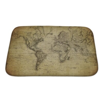 Earth Vintage Map of the World 1814 Bath Rug Size: Small