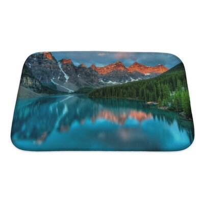 Landscapes During The Morning Sunrise at Moraine Lake, Banff National Park Bath Rug Size: Small