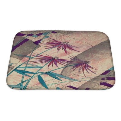 Art Beta Decorative Painting Flowers with Geometric Bath Rug Size: Small
