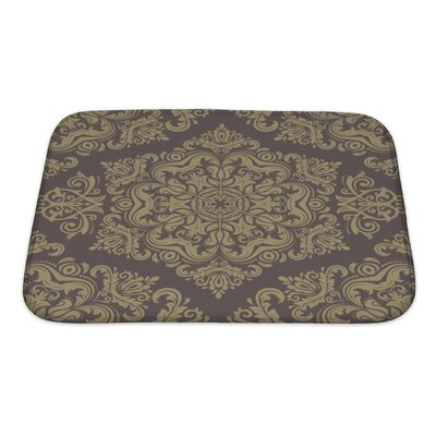 Primo Damask Pattern with Fine Traditional Oriental Ornaments Bath Rug Size: Small