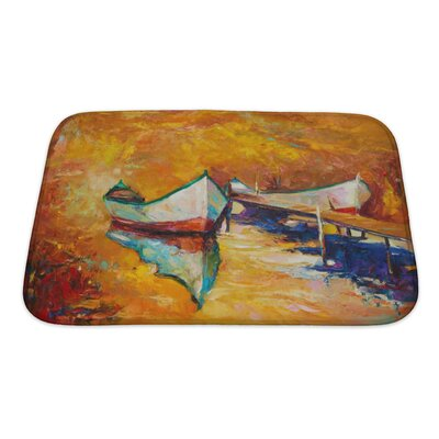 Art Touch Boats and Jetty Golden Sunset Over Ocean Bath Rug Size: Small