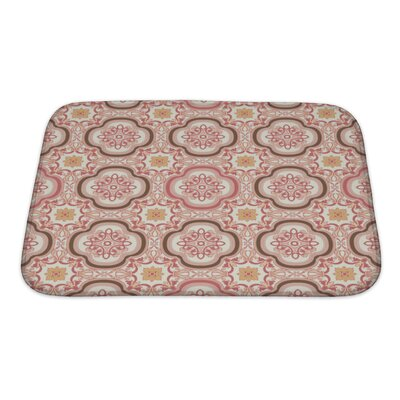 Gecko Vintage Flower Floral Abstract Wallpaper Royal Fabric Bath Rug Size: Small