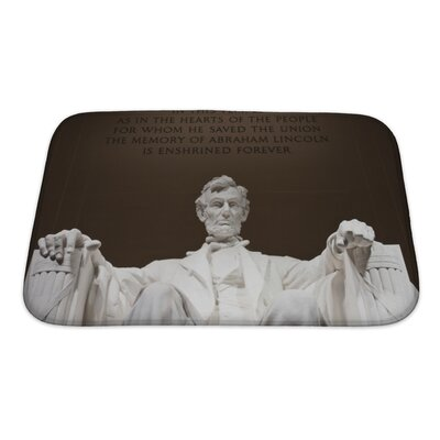 Patriotic Abraham Lincoln at the Lincoln Memorial in Washington DC Bath Rug Size: Small