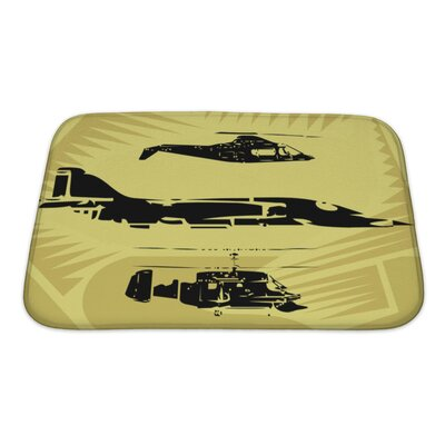 Aircraft Aeroplane Fighter Plane and Helicopter Flying in the Sky Bath Rug Size: Small