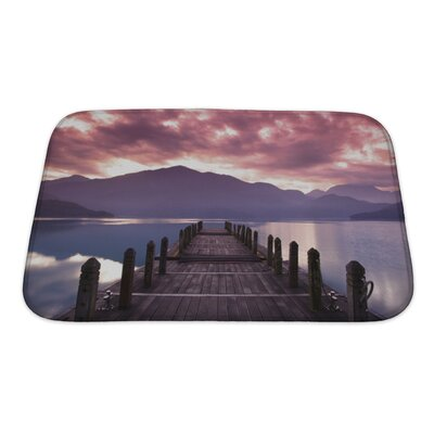 Landscapes Beautiful Morning at Spring Before Sunrise and Pier View Bath Rug Size: Small