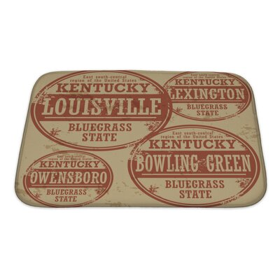Vintage Grunge Rubber Stamp Set with Names of Kentucky Cities Bath Rug Size: Small