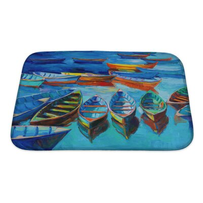 Marine Boats and Sea at Sunset Bath Rug Size: Small