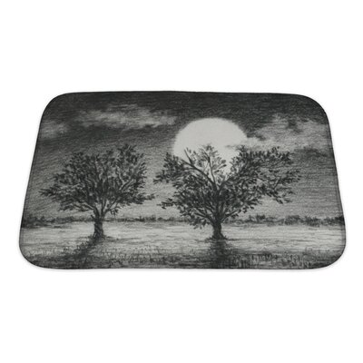 Landscapes Night Scene, 2 Trees are Lit by Moonlight Art Bath Rug Size: Small