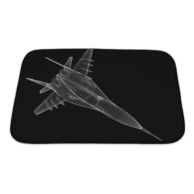 Aircraft Fighter Plane Model, Body Structure, Wire Model Bath Rug Size: Small