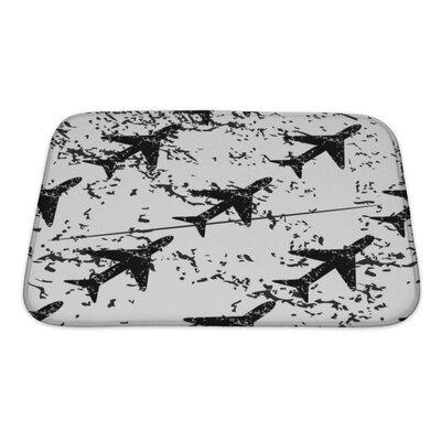 Aircraft Plane Pattern, Grunge Image Bath Rug Size: Small