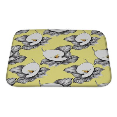 Flowers Calla Lilly Floral Bath Rug Size: Small, Color: Yellow