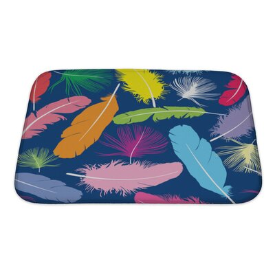 Bravo Pattern with Feathers Bath Rug Size: Small