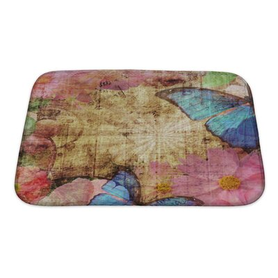 Art Beta Vintage with Butterfly and Flowers Bath Rug Size: Small
