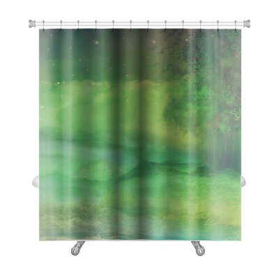 Art Alpha Night Forest in Mountain Shower Curtain