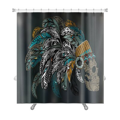 Danger Ornamental Skull in an Indian Headdress with Colored Feathers Premium Shower Curtain