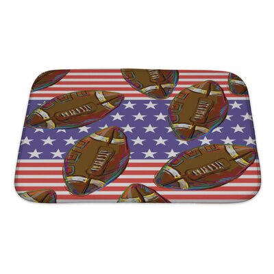 Soccer American Football Pattern Bath Rug Size: Small
