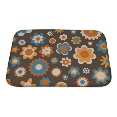Beta Multicolored Funky Flowers Abstract Pattern Bath Rug Size: Small, Color: Brown