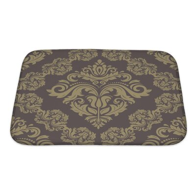 Simple Damask Floral Pattern with Arabesque and Oriental Elements Bath Rug Size: Small