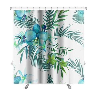 Art Touch Tropical Flowers and Palm Leaves Premium Shower Curtain