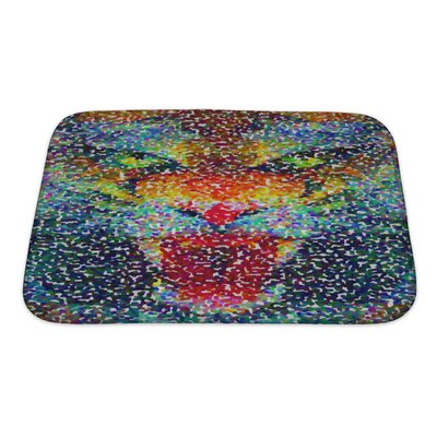 Animals Abstract Tiger Geometric Hipster Poster in Pointillism Style Bath Rug Color: Blue, Size: Small