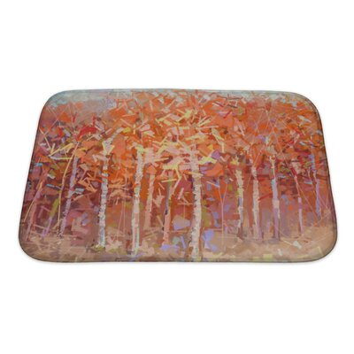Art Primo Abstract Oil Painting Landscape Colorful Autumn Forest Bath Rug Size: Small
