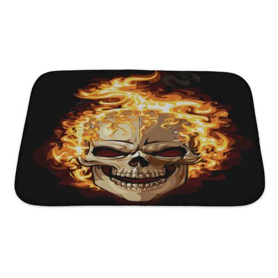 Danger Skull Icon Fire Ornament Tattoo Bath Rug Size: Small