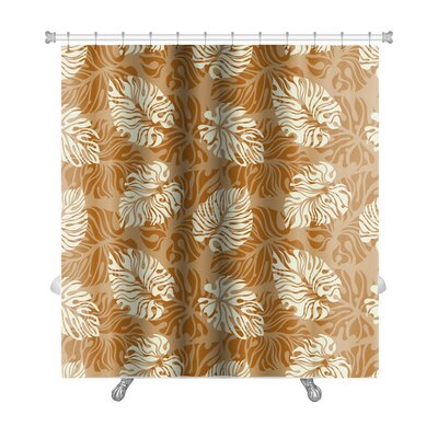 Simple Leaf Pattern Floral Premium Shower Curtain