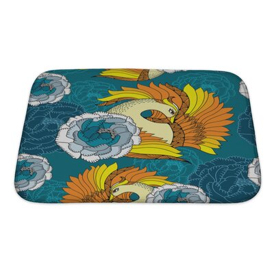 Birds with Mythological Firebird and Chrysanthemums Bath Rug Size: Small