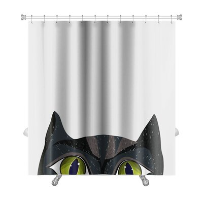 Animals Cat in Cartoon Style Premium Shower Curtain