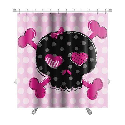 Danger Cute Aggressive Girlish Skull Premium Shower Curtain