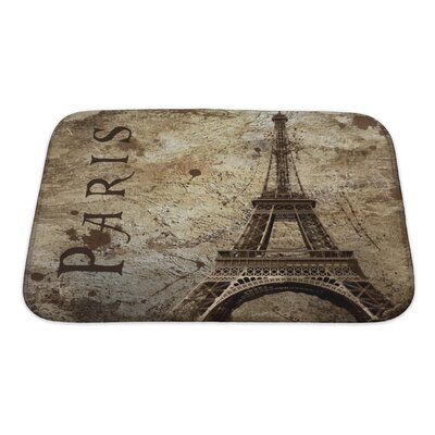 Skyline Vintage View of Paris on the Grunge Bath Rug Size: Small