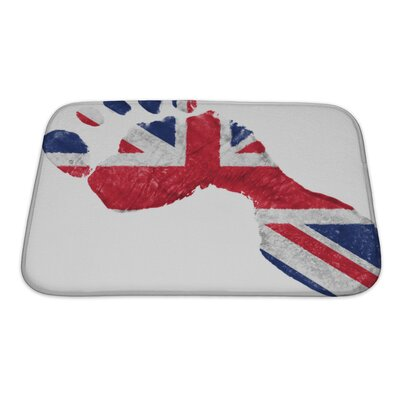 Human Touch Britain British Flag Painted In a Shape of Footprint Bath Rug Size: Small