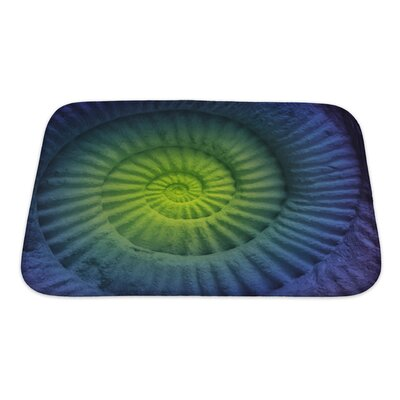 Marine Abstract Colors of Ammonite Prehistoric Fossil Bath Mat/Rug Size: Small
