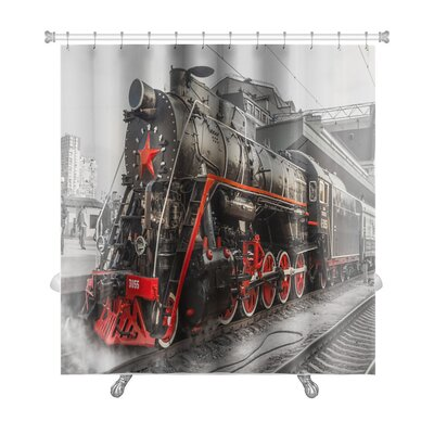 Vintage Old Steam Locomotive, Vintage Train Premium Shower Curtain