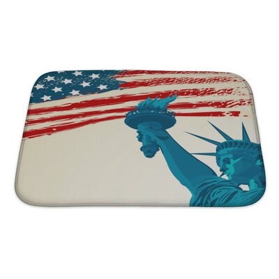Patriotic Grunge American Flag with the Statue of Liberty Bath Rug Size: Small
