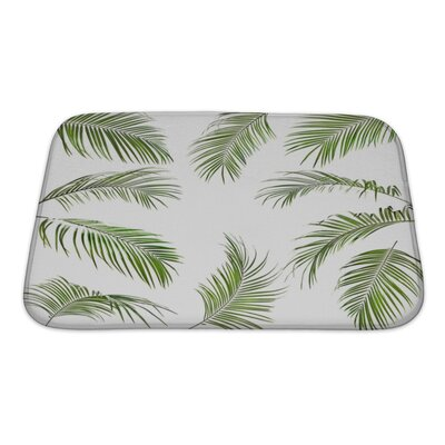 Nature Palm Leaves Isolated Bath Rug Size: Small
