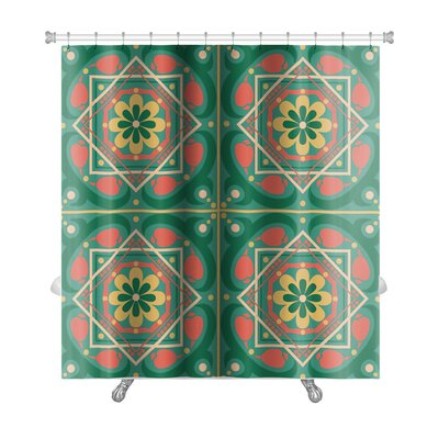 Gecko Islamic Pattern with Flowers Premium Shower Curtain