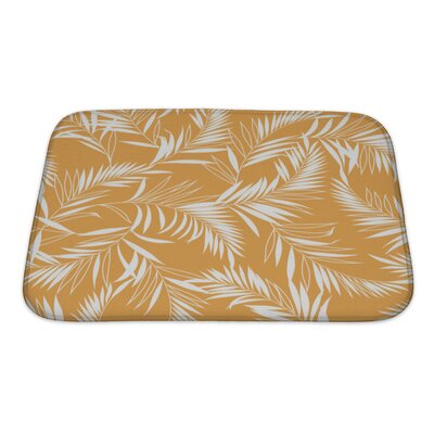 Leaves Tropical Plant Bath Rug Color: Orange/White, Size: Small