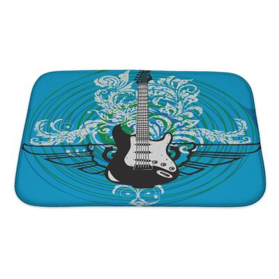 Instruments Abstract Electric Guitar Bath Rug Size: Small