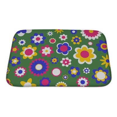 Beta Multicolored Funky Flowers Abstract Pattern Bath Rug Color: Green, Size: Small