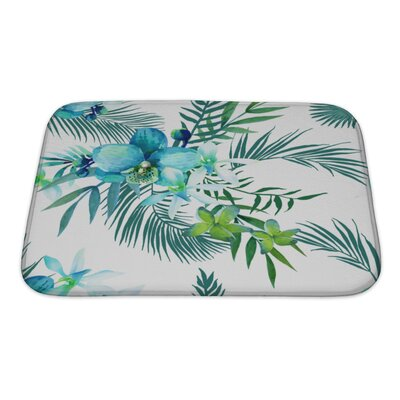Art Touch Tropical Flowers and Palm Leaves Bath Rug Size: Small