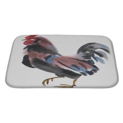 Birds Watercolor of a Rooster Bath Rug Size: Large