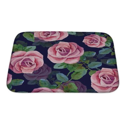 Flowers Roses Watercolor Painting Bath Rug Size: Small