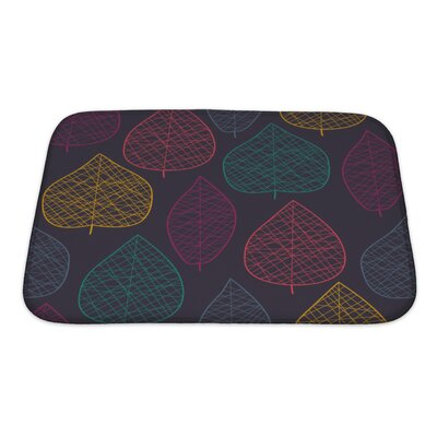 Leaves Stylized Color Leaf Pattern Bath Rug Size: Small