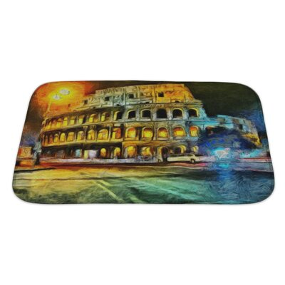 Art Touch Bright Illumination of Colliseum at Night Painting Bath Rug Size: Large
