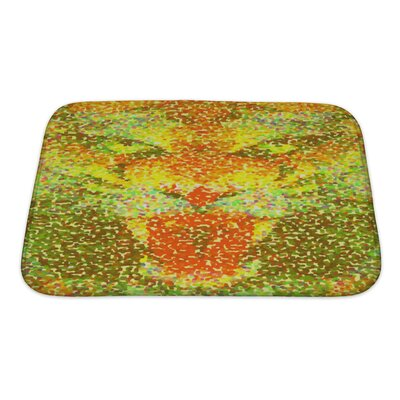 Animals Abstract Tiger Geometric Hipster Poster in Pointillism Style Bath Rug Size: Small, Color: Yellow