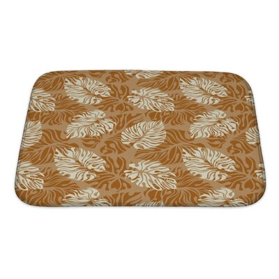 Simple Leaf Pattern Floral Bath Rug Size: Small