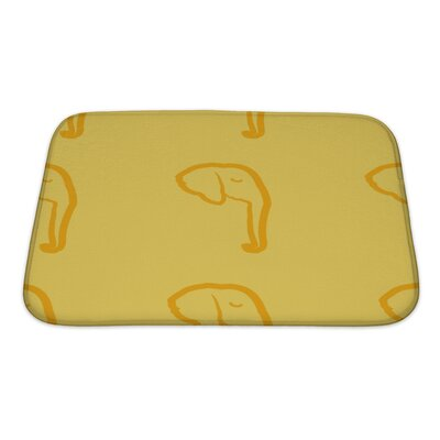Animals Map with Elephant Bath Rug Size: Small
